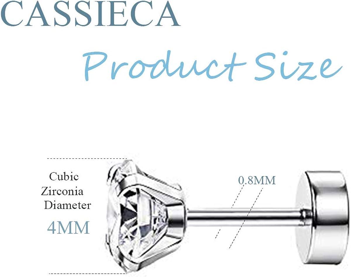 CASSIECA 6 Pairs 20G Stainless Steel Stud Cartilage Piercing Earrings Round Cubic Zirconia Earring Barbell Stud Earrings Set For Men Women Screw Flat Back Earrings For Men Women Jewelry Set