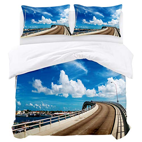 3 Piece Bedding Sets,Bridge Street Lamp Blue Sky White Clouds Beautiful Town Scenery of Omaha Full(86