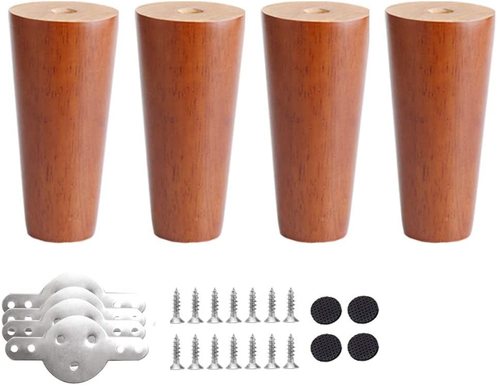 MWPO 4pcs Wooden Furniture Legs,Walnut Color Table Legs,Cabinets Feet,Sofa Feets,Oak Furniture Feet,Replacement Legs,with Mounting Plate and Screws,for Sofas Stools DIY Desk Bench(12cm 4.7in)