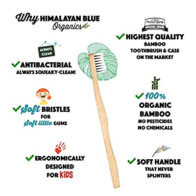 Himalayan Blue Kids Natural Biodegradable Bamboo Toothbrush Pack of 4 - Organic - Soft Bristles for Toddler and Children - Gift E-book - Camping, mountain, school, travel, sports, activities
