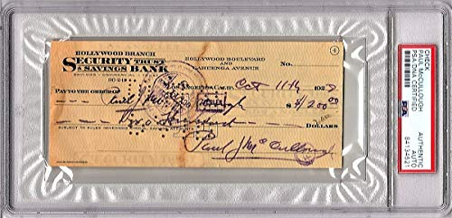Paul Mccullough TRIPLE Signed - Autographed ORIGINAL Bank Check from 1928 - Comedy Duo Clark and McCullough - Deceased 1936 - PSA/DNA Certificate of Authenticity (COA) - PSA Slabbed Holder