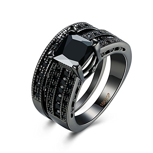 e Fashion Jewelry Hot Sale Gun black Set Square Black Diamond Ring (Hot Fashion Rings)