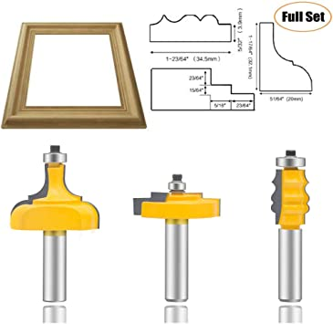 """1//2/"""" Shank Large Ogee 2 Bit Rail and Stile Router Bit Set Yonico 12236"""