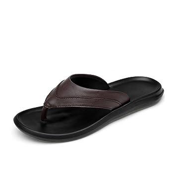 c64d0733326 Hombre Zapatillas Ocio Verano Chanclas de Deporte/Sandalias de Playa  Antideslizantes/Casual Zapatillas de Cuero Genuino y Chanclas (Color :  Marrón, ...