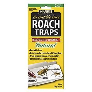 Harris Roach trampa de pegamento w/señuelo de (lote de 2), Natural y Libre de plaguicidas