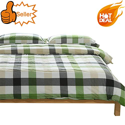 - OTOB Colorful Green White Checkered Plaid Bedding Set for Kids Adults 3 Piece Lightweight Grid Gingham Washed Cotton Duvet Cover Sets with Pillow Shams, Reversible(Twin, Green)
