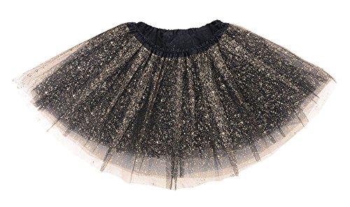 Simplicity Elastic 3 Layered Tulle Tutu Skirt Dress up Costume, Black Sequin