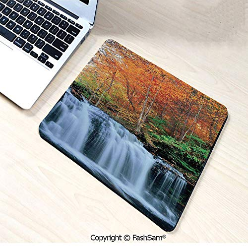 Personalized 3D Mouse Pad Waterfalls in Autumn Season Nature Park with Colorful Foliage Trees for Laptop Desktop(W7.8xL9.45)