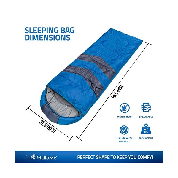 MalloMe Camping Sleeping Bag - 3 Season Warm & Cool Weather - Summer, Spring, Fall, Lightweight, Waterproof for Adults & Kids - Camping Gear Equipment, Traveling, and Outdoors 4