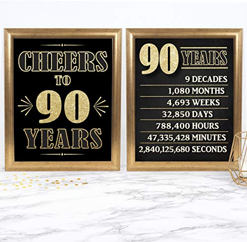 Katie Doodle 90th Birthday Party Supplies Decorations Party Supplies | Includes 8x10 Cheers to 90 Years Sign Set [Unframed / 2-Pack], BD690, Gold & Black ()