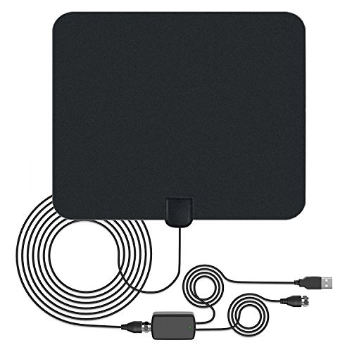TV HDTV Antenna Digital Antenna - 50 Miles Range Indoor TV Antenna with Detachable Amplifier, 13 Ft Coaxial Cable Support 1080P Work for Both UHF and VHF (Los Angeles Area Codes And Zip Codes)