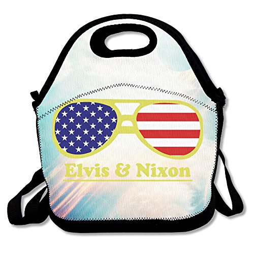 [Bakeiy Elvis & Nixon Sunglasses Lunch Tote Bag Lunch Box Neoprene Tote For Kids And Adults For Travel And Picnic] (Young Elvis Presley Costumes)