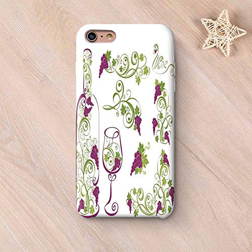 Wine Wear Resisting Compatible with iPhone Case,Wine Bottle and Glass Grapevines Lettering with Swirled Branches Lines Decorative Compatible with iPhone 7/8,iPhone 6 Plus / 6s Plus