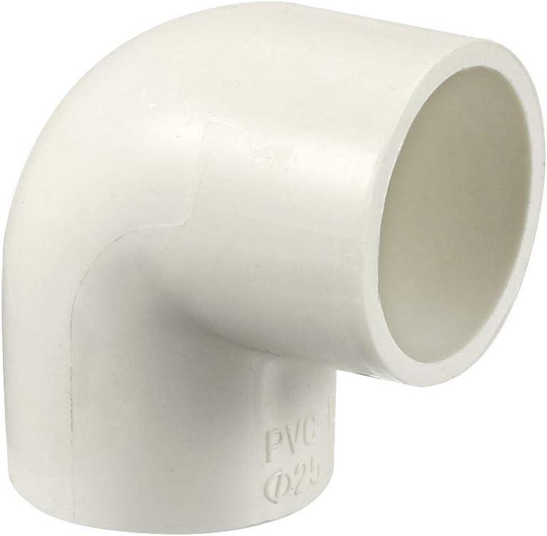 Conector deslizante de 25mm Blanco sourcing map Conector de acoplamiento de codo de 90 grados 3 unidades Adaptador de tuber/ías de PVC