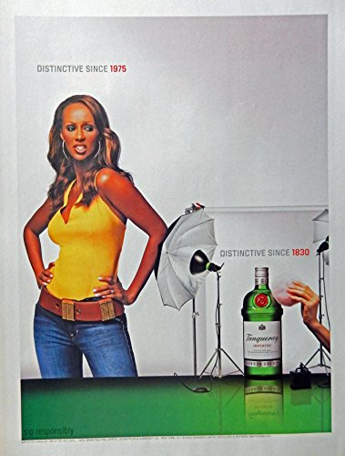tanqueray-gin-print-ad-full-page-color-illustration-distinctive-since-1830-girl-since-1975-original-