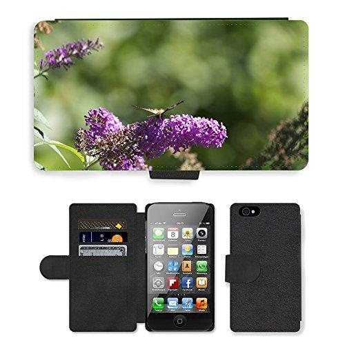 Just Phone Cases PU Leather Flip Custodia Protettiva Case Cover per // M00128127 Lilas Papillon Fleurs Fleur // Apple iPhone 4 4S 4G