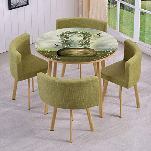 iPrint Round Table/Wall/Floor Decal Strikers/Removable/Fairytale Scene with Flowers Stone and Hummingbird Wildflower Arch Cloudy Sky/for Living Room/Kitchens/Office ()