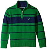 Nautica Little Boys' Qtr Zip Stripe Sweater with Indigo Marl, Spartan Green, X-Large