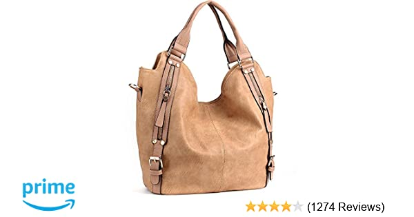 b3adf8c3b53f Amazon.com  JOYSON Women Handbags Hobo Shoulder Bags Tote PU Leather  Handbags Fashion Large Capacity Bags Apricot  Shoes