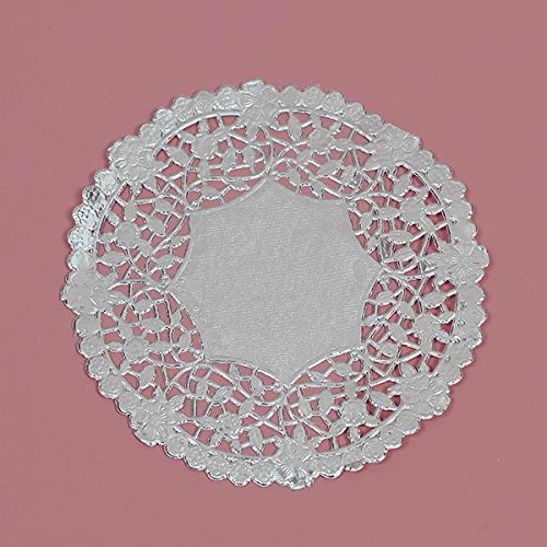 4 Inch Silver Round Lancaster Paper Doilies 100 Count by PEPPERLONELY