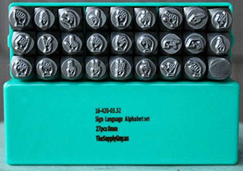 26 Stamp ASL Sign Language Alphabet Letter Metal Punch Design Jewelry Stamp Set