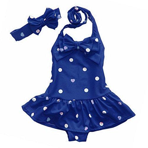 Toddler Baby Girls Polka Dots Swimwear Swimsuit Beachwear Dancewear & Headband (4T-5T, (Girls Beachwear)