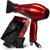 Magnifeko 1875W Professional Hair Dryer with Ionic Conditioning - Powerful, Fast Hairdryer Blow Dryer - 2 Speeds, 3 Heat Settings (Red)