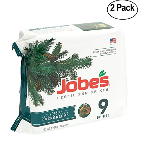 Jobe's Evergreen Fertilizer Spikes 11-3-4 Time Release Fertilizer for Juniper, Spruce, Cypress and All Other Evergreen Trees, 9 Spikes per Package- Pack Of - Spikes Evergreen