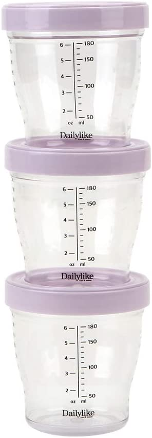Dailylike BONBON Tritan Baby Food Storage Containers with Lids, 3pcs | Airtight, Easy-scale, Leakproof Baby Food Jars for Babies & Infants | Microwave Safe, BPA Free (6.08oz, Lavender Color)
