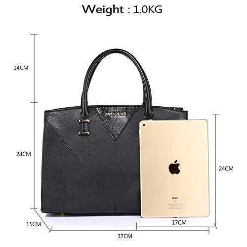 New Look Black Gorgeous Faux Handbags 1 Office Designer Gives you Use Large Design Bags Womens Ladies Daily Look Shoulder Leather College qw8RanT