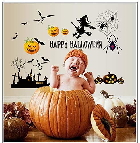 Wall Sticker Happy Festival Halloween Cartoon Yellow Pumpkin for Home Decor,Living Room,Bathroom,Kids Room Wallpaper -