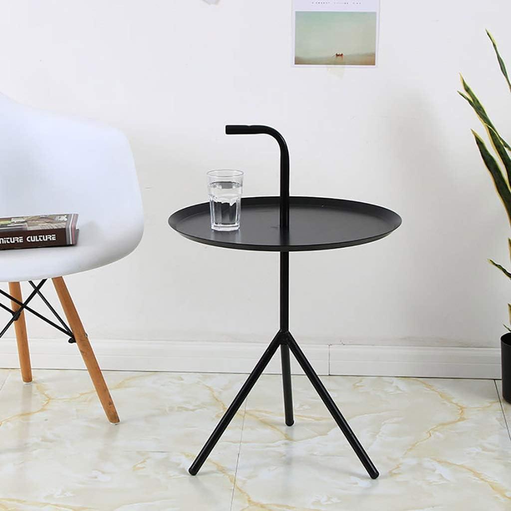 Nieuwe Stijl Lw coffee table kleine salontafel ronde ijzeren Nordic smeedijzer kleine salontafel/einde/lamp/salontafel, ijzer zwart EB76XQR