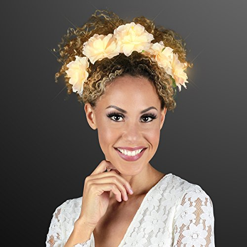Light Up Flower Crown Headband for Festivals with Warm White LED Lights