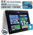 "2017 ASUS 15.6"" 2-in-1 Convertible Touchscreen FHD 1920x1080 Laptop PC, Intel Core i7-7500 2.7GHz Processor, 16GB DDR4 RAM, 1TB HDD+128GB SSD, Backlit Keyboard, HDMI, Bluetooth, Windows 10"