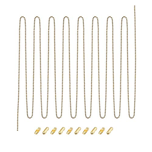 Brass 10' Appliance Pull - uxcell Pull Chain Extension Brass Beaded Chain 10 Feet with 10 Connectors for Light/Fan