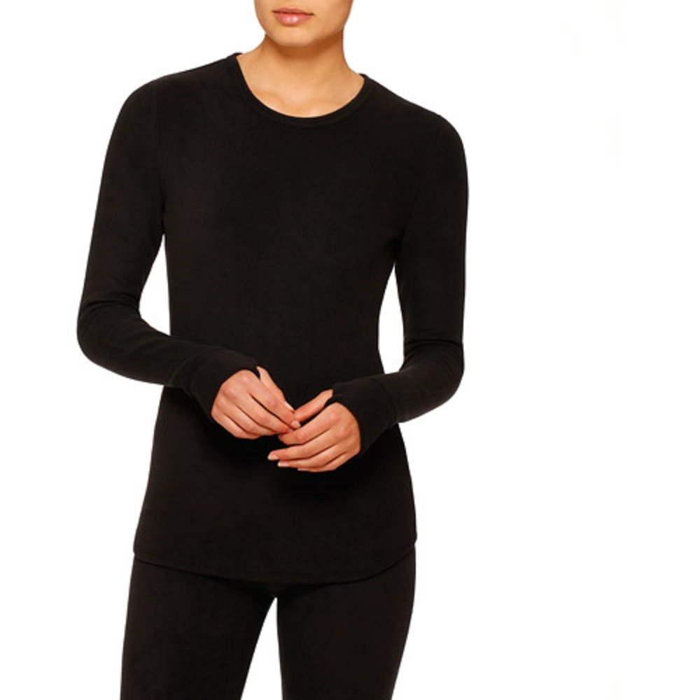 ClimateRight by Cuddl Duds Womens Stretch Fleece Long Sleeve Crew Top / Shirt (L, Black)