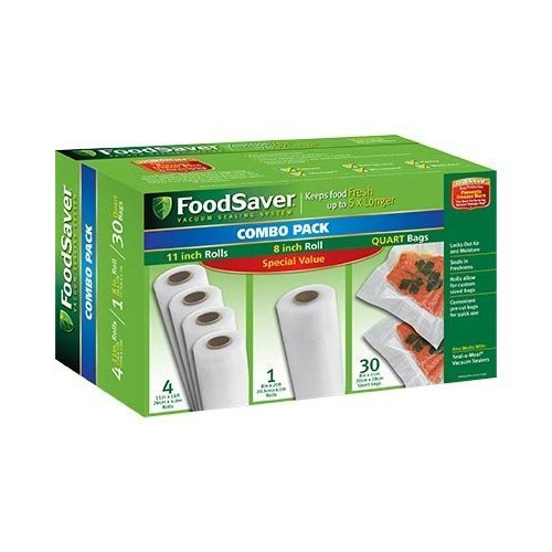 "FoodSaver B005SIQKR6 Special Value Vacuum Seal Combo Pack 1-8"" 4-11"" Rolls 36 Pre-Cut Bags, 1Pack), Clear"