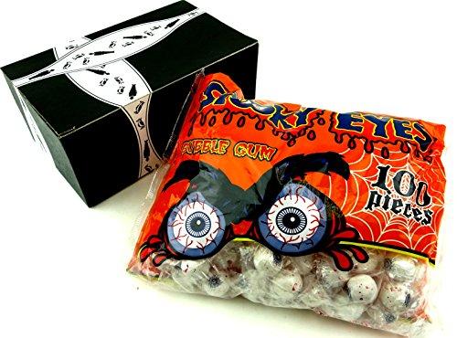 Halloween Eyeball Cake Balls (Spooky Eyes Gluten Free Bubble Gum, 29 oz Bag in a BlackTie)