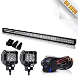 50 inch LED Light Bar TURBOSII 288W Flood Spot Combo Off Road Lights Led Work Light Bar + 4' Led Cube Light For Jeep Wrangler JK TJ Truck ATV 4X4 SxS Hummer Chevy Silverado Ford Toyota Nissan Pickup