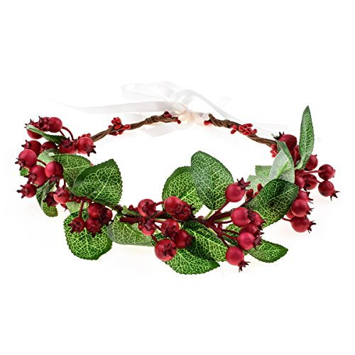 Floral Fall Flower Crown Vintage Nature Berries Festival Woodland Wedding Headband HD-02 (Christmas Red) Christmas Floral