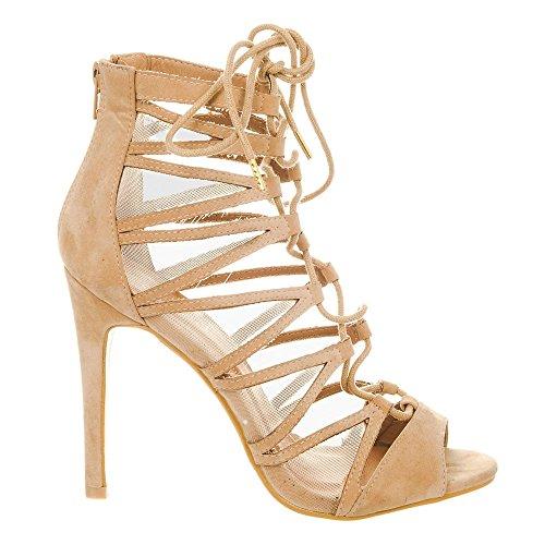 Miss Shoes Diva Suedette Peep toe Nude Donna TrTRqwx