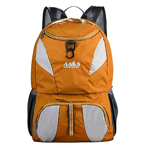 35L Larger Most Durable AMS Packable Lightweight Waterproof Travel Hiking Backpack Daypack (orange)