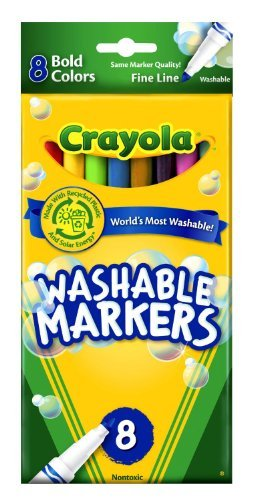 - Crayola Washable Markers Bold Colors Fine Tip - 8 Count - 2 Packs