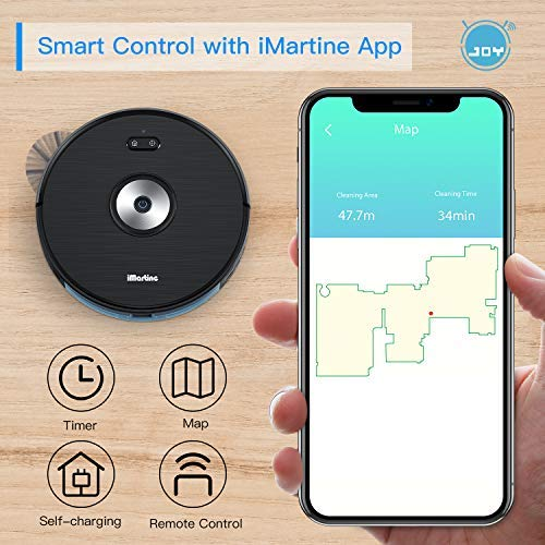 Robot Vacuum Cleaner, Wi-Fi Connected, Works with Alexa, Smart Navigating Robotic Vacuum, Boundary Strip Included, 1600Pa Max Suction, Self-Charging Robot Vacuum, Clean HardFloor to Carpets, Pet Hair