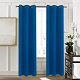 Aquazolax Grommet Blackout Curtain Drapes Solid Blackout Curtains 42''x63'' Readymade Thermal Window Treatment for Bedroom, 1 Panel, Royal Blue