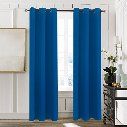 Bedroom Blackout Window Curtain Panels - Aquazolax Blackout Curtains Drapes 42x84-inch Solid Window Treatment Drapery for Living Room, 2 Packs, Royal Blue