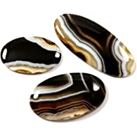 Gems&JewelsHub 125.80CTS 100% Naturale Fasciato Agata cabochon Ovale 3pz Lotto all' Ingrosso