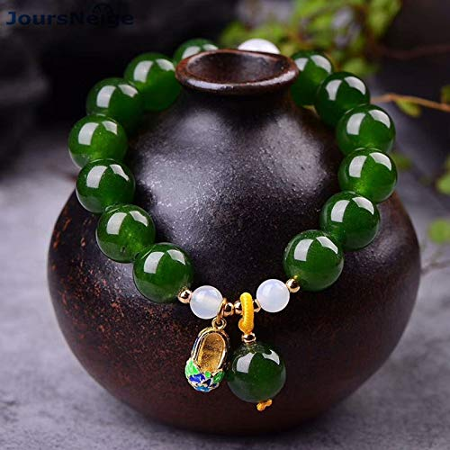 Green Chalcedony Crystal Bracelets | 12mm Lucky Beads with Shoes Pendants & Bracelets | for Men Jewelry ()