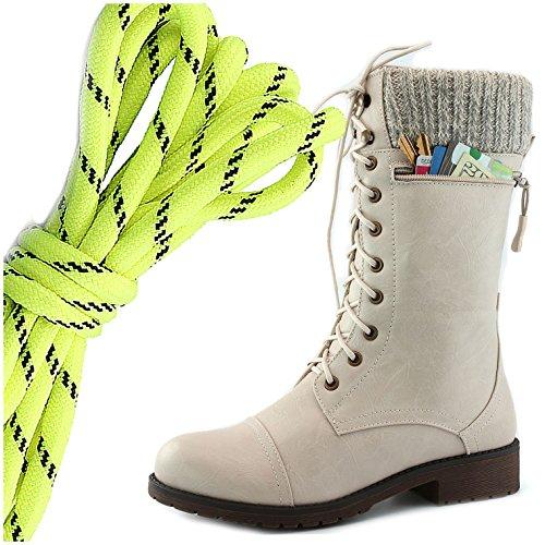 Dailyshoes Womens Combat Stijl Lace Up Enkellaarsje Ronde Neus Militaire Knit Creditcard Mes Geld Portemonnee Pocket Laarzen, Neon Geel Zwart Ivoorwit Pu