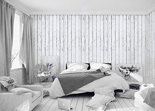 White Wood Wallpaper Wood White Peel and Stick Wallpaper Removable Shiplap Vinyl Vintage White Wood Contact Paper Wood Self Adhesive Wallpaper Wood Plank Wood Grain Shelf Liner Wall Roll17.7''x78.7''